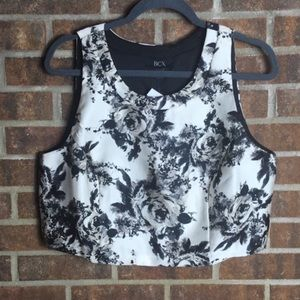 New BCX Urban Outfitters Black Floral Crop Top